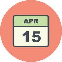 15 aprile Data su un calendario per un solo giorno vettore