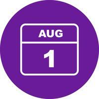 1 ° agosto Data in un giorno unico calendario vettore