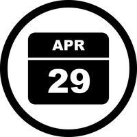 29 aprile Data su un calendario per un solo giorno