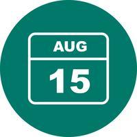 15 agosto Data in un calendario per un solo giorno