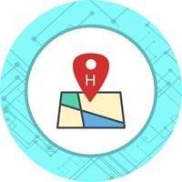 Progettazione dell'icona di posizione dell'ospedale vettore