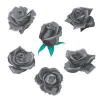 Fiori rose, boccioli e foglie verdi. Collezione Roses Set. icona e simbolo di rosa vettore