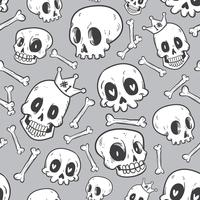 collezione di teschi carino doodle seamless pattern