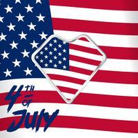 4 luglio illustrazione del giorno dell'indipendenza sulla bandiera americana bandiera bianca rossa e bandiera del focolare per le immagini dei social media vettore