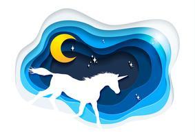 Estratto di unicorno, concetto di unicorno di arte di carta, arte vettoriale ed illustrazione di unicorno.