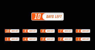 I giorni numerici in stile semplice del design moderno hanno lasciato il conto alla rovescia impostato dal numero 10 all'1 vettore