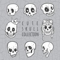 collezione di teschi simpatici doodle