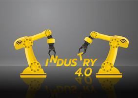 Concetto di industria 4.0. Fabbrica di braccialetti robotizzati a mano con cloud computing e aumento dell'automazione. Illustrazione vettoriale