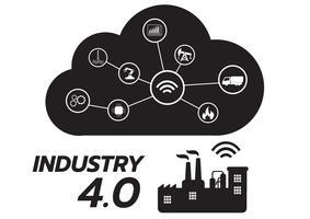 Icona del concetto di industria 4.0, Internet of things network, soluzione di fabbrica intelligente, tecnologia di produzione, robot di automazione con sfondo grigio