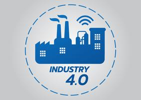 Concetto di industriale 4.0, icona di vettore di fabbrica intelligente. Illustrazione di Wi Fi Plant. Tecnologia industriale Internet of Things (IoT).