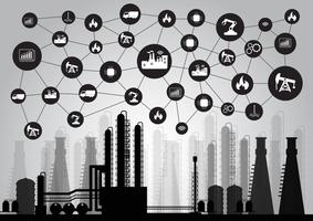 concetto di industria 4.0, Internet of things network, soluzione smart factory, tecnologia di produzione, robot di automazione vettore