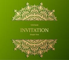 Design elegante della carta Save the Date. Modello di carta di invito floreale vintage. Mandala di lusso turbinio saluto oro e carta verde vettore
