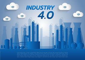 concetto di industria 4.0, rete Internet of things, soluzione smart factory, tecnologia di produzione, robot di automazione con sfondo grigio vettore