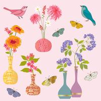 vasi di fiori farfalla e uccelli grafica vettoriale