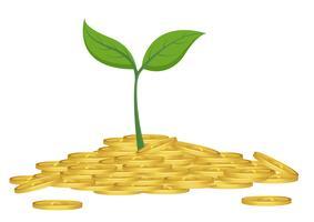 Concetto di business, albero in crescita dal mucchio di monete d'oro vettore