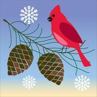 uccello cardinale sul ramo di pigne con fiocchi di neve