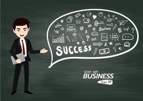 Insieme dell'icona di affari e finanza, finanziere che dà presentazione. Illustrazione di schizzo disegnato a mano di vettore
