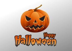 Zucche di Halloween e castello scuro su fondo, illustrazione felice di progettazione del messaggio di Halloween.