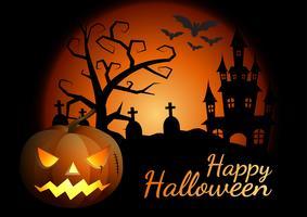 Zucche di Halloween e castello scuro su fondo, illustrazione felice di progettazione del messaggio di Halloween. vettore