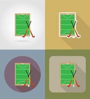 campo di gioco a hockey su erba icone piane illustrazione vettoriale