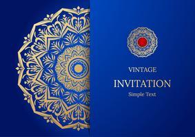 Design elegante della carta Save the Date. Modello di carta di invito floreale vintage. Mandala di lusso turbinio saluto oro e carta blu vettore