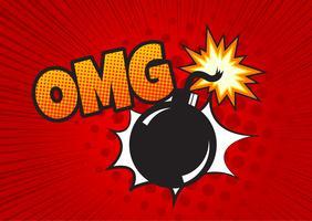 Bomba in stile pop art e fumetto comico con testo - BOOM! Dinamite di cartone animato a sfondo con mezzitoni puntini e sunburst. vettore