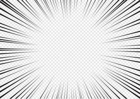 Linee radiali di esplosione flash astratto del libro di fumetti su sfondo trasparente