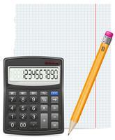 calcolatrice pezzo di carta e matita illustrazione vettoriale