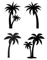 palma tropicale albero set icone illustrazione vettoriale silhouette nera