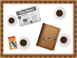 set di icone di tazze con caffè vettore