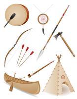 set icone oggetti indiani americani illustrazione vettoriale