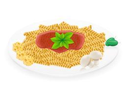 pasta su un'illustrazione di vettore di piatto