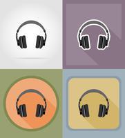 illustrazione piana di vettore delle icone delle cuffie acustiche