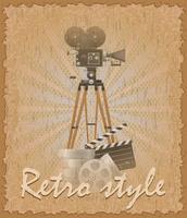 vecchia illustrazione di vettore della cinepresa del manifesto di stile retro