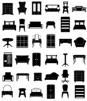 set icone mobili nero sagoma contorno vettoriale illustrazione