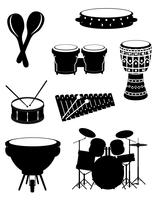 gli strumenti musicali di percussione hanno messo l'illustrazione di riserva di vettore delle icone
