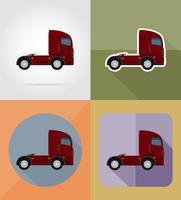 camion per l'illustrazione di vettore delle icone piane del carico del trasporto
