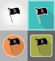 icone piane di bandiera pirata vettoriale illustrazione