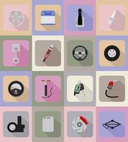 icone piane attrezzature auto illustrazione vettoriale
