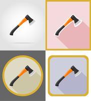 illustrazione di vettore di icone piane di riparazione di ascia e strumenti di costruzione