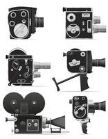 vecchia retro illustrazione di vettore della videocamera di film dell'annata