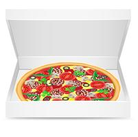 la pizza è in una scatola di cartone