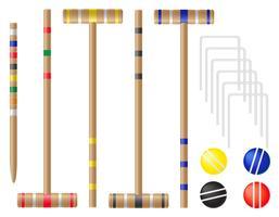 impostare attrezzature per illustrazione vettoriale croquet