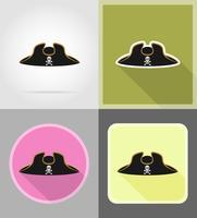 icone piane cappello tricorno pirata vettoriale illustrazione