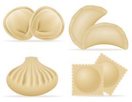 gli gnocchi di pasta con un'insieme delle icone dell'insieme di riempimento vector l'illustrazione