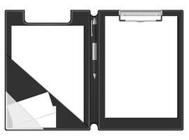 foglio di carta bianca della cartella della lavagna per appunti e dell'illustrazione di vettore della penna
