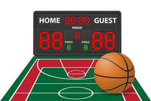 illustrazione vettoriale di tabellone segnapunti digitale sport basket
