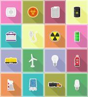le icone piane delle icone piane di energia e di potere vector l'illustrazione