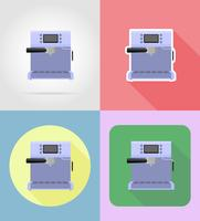 gli elettrodomestici della macchinetta del caffè per le icone piane della cucina vector l'illustrazione