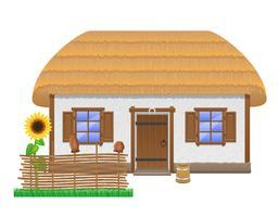 antica casa colonica con un tetto di paglia illustrazione vettoriale